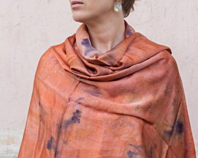 шарф шелковый кирпичный