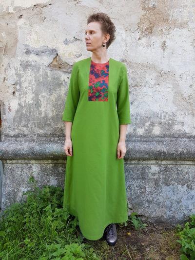 платье из шерсти, эко принт, платье макси, зеленое платье, bolshoy fashion market