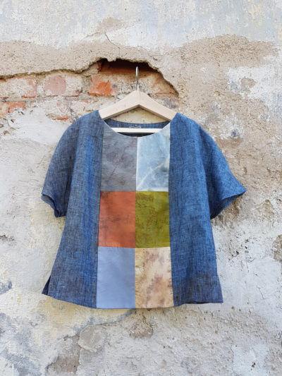 одежда, блузка, пэтчворк, пэчворк, шелк, эко принт, окрашенный растениями