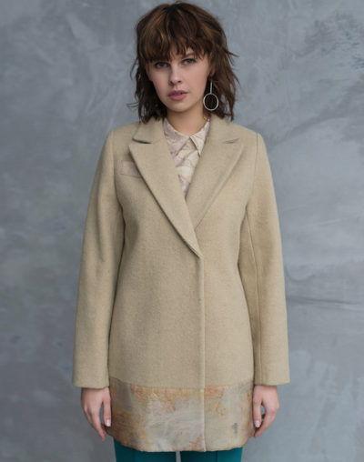 пальто с отделкой из шелка, экопринт