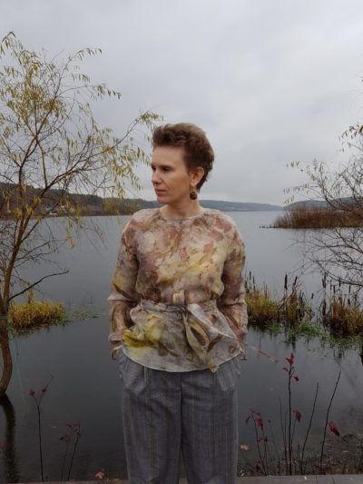 блузка из шелка, мастер-класс, экопринт