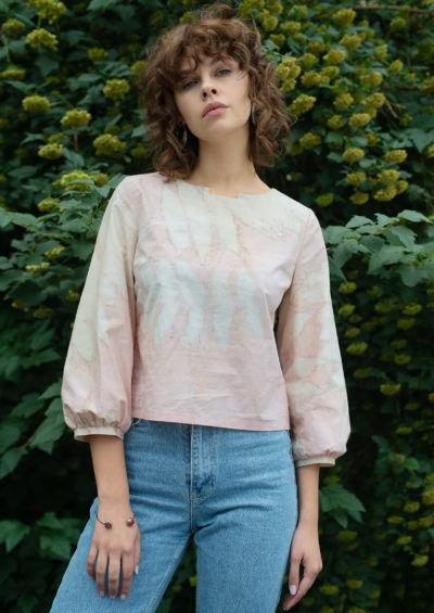 розовая блузка, эко принт, окрашено растениями