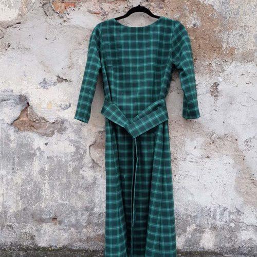платье полушерстяное зеленое в клетку